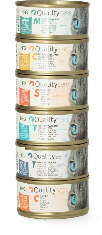 QUALITY SENS HFG Multipack - 100% Natural Pâtées for Cat & Kitten - Mix 6 recipes x 70g