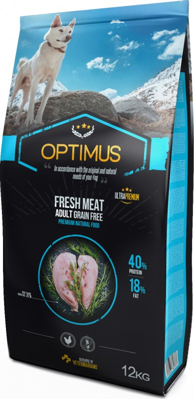 OPTIMUS Fresh Meat with fresh chicken grain free for adult dogs