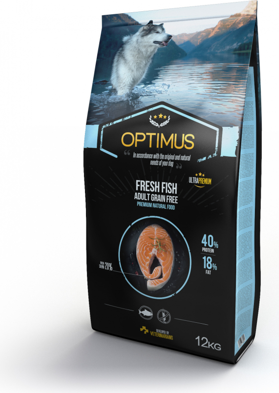 OPTIMUS Fresh Fish with fresh fish without cereals for adult dogs