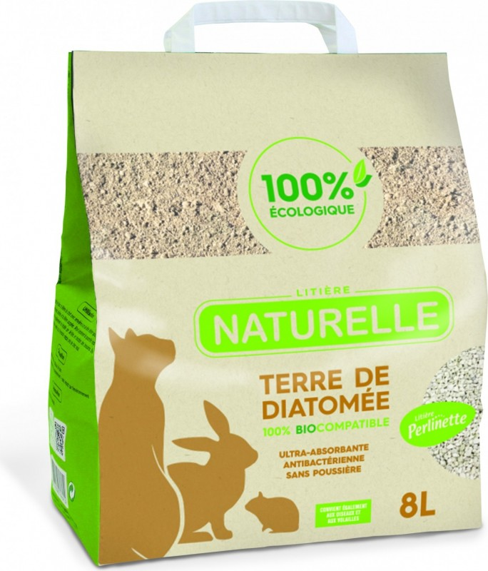 Perlinette diatomaceous earth litter for cats, rabbits, guinea pigs, birds and hens