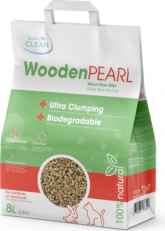 Wooden Pearl clumping vegetable litter for cats and rodents Quality Clean